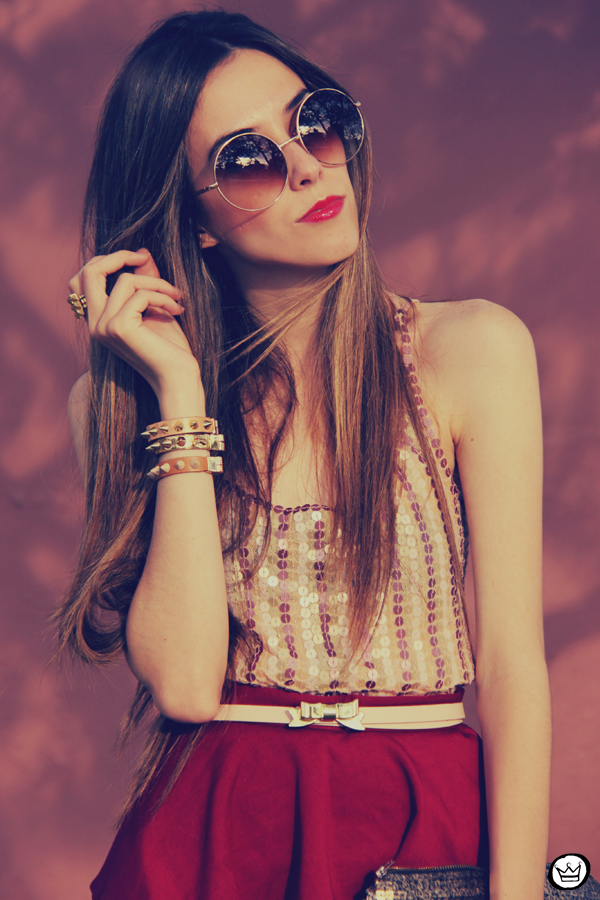FashionCoolture - 09.12.2012 Peplum burgundy sequins Goodnight Macaroon Kafé Romwe rounded sunglasses girly (1)