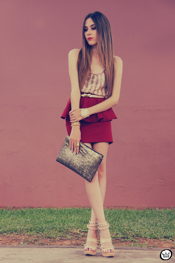 FashionCoolture - 09.12.2012 Peplum burgundy sequins Goodnight Macaroon Kafé Romwe rounded sunglasses girly (2)
