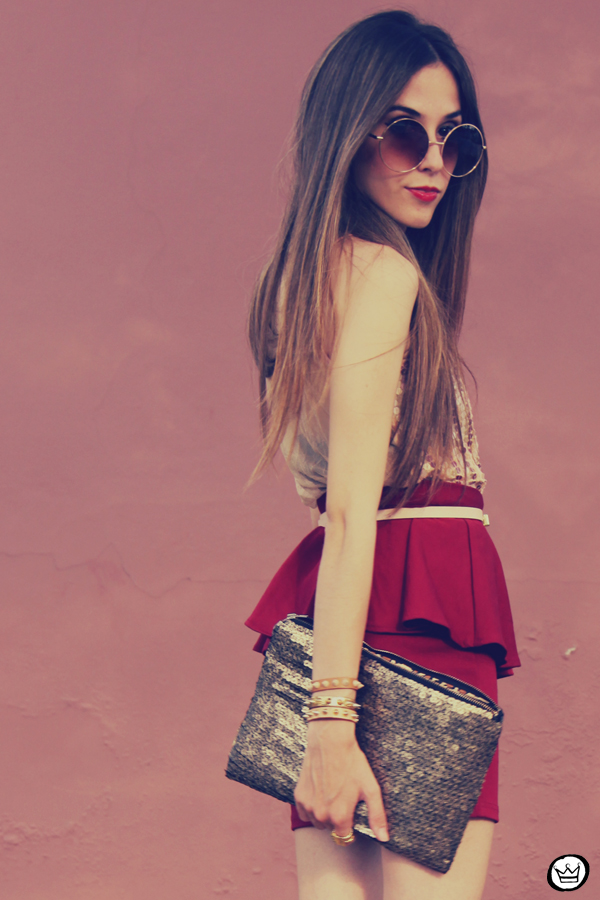 FashionCoolture - 09.12.2012 Peplum burgundy sequins Goodnight Macaroon Kafé Romwe rounded sunglasses girly (3)