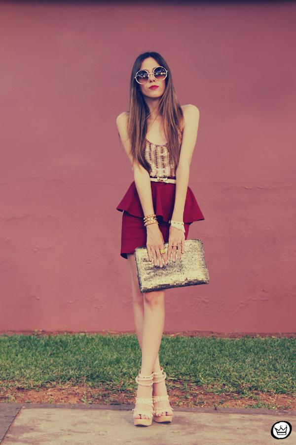FashionCoolture - 09.12.2012 Peplum burgundy sequins Goodnight Macaroon Kafé Romwe rounded sunglasses girly (5)
