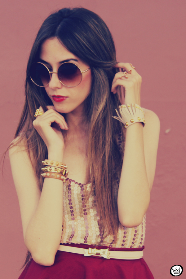 FashionCoolture - 09.12.2012 Peplum burgundy sequins Goodnight Macaroon Kafé Romwe rounded sunglasses girly (6)