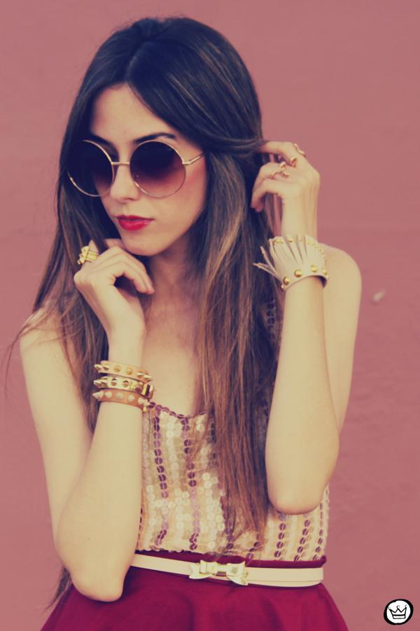 FashionCoolture - 09.12.2012 Peplum burgundy sequins Goodnight Macaroon Kafé Romwe rounded sunglasses girly (6)