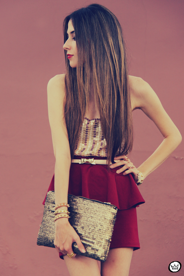 FashionCoolture - 09.12.2012 Peplum burgundy sequins Goodnight Macaroon Kafé Romwe rounded sunglasses girly (7)