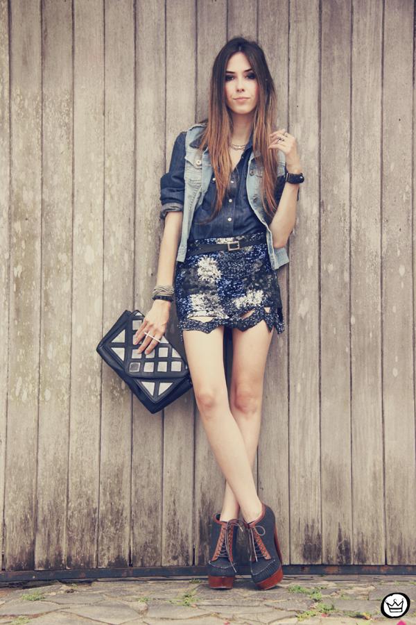 FashionCoolture 11.12.2012 Choies sequins skirt jeans Asos indigo blue Zara Kafé  (1)