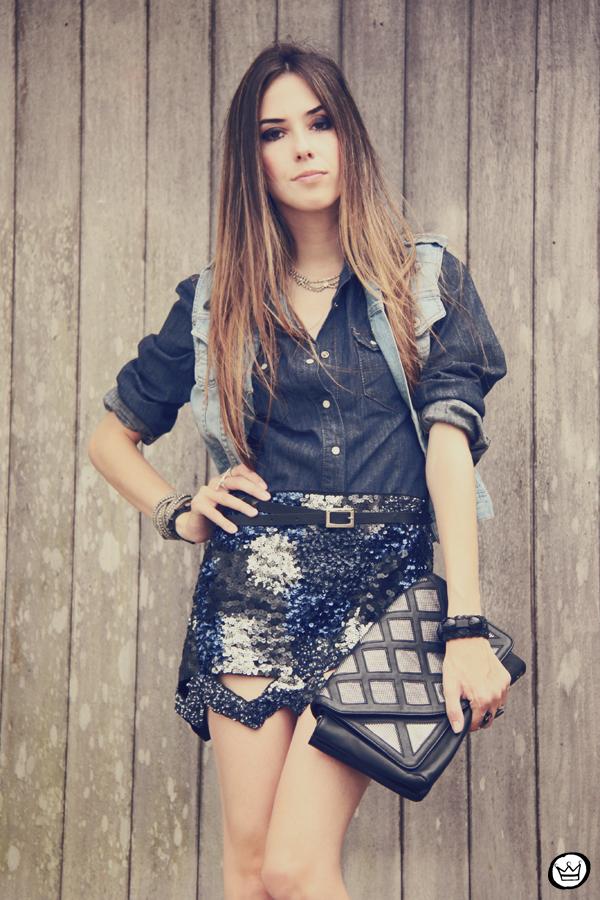 FashionCoolture 11.12.2012 Choies sequins skirt jeans Asos indigo blue Zara Kafé  (2)