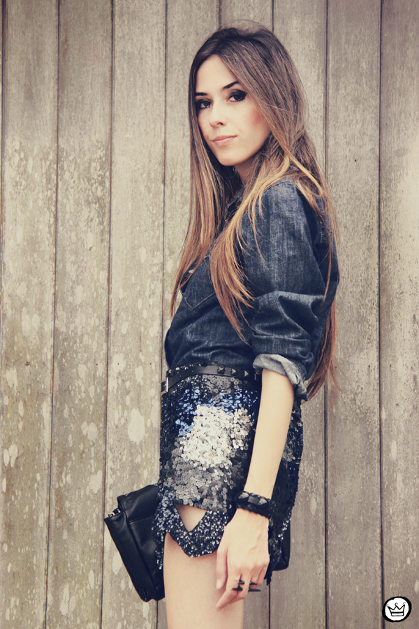 FashionCoolture 11.12.2012 Choies sequins skirt jeans Asos indigo blue Zara Kafé  (5)