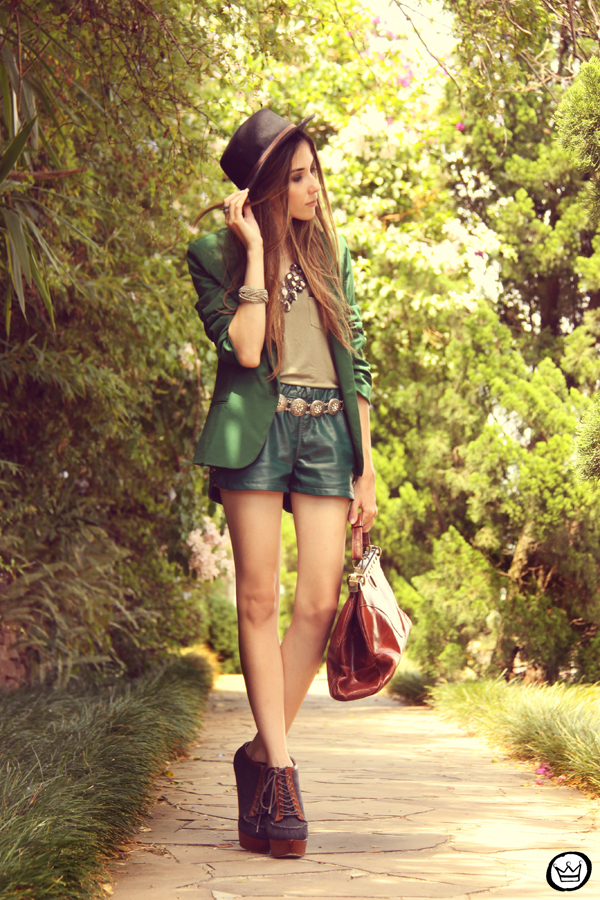 FashionCoolture 20.12.2012 green blazer SheInside vintage bag hat Asos high heels maxi necklace Rafaela Andrade (1)