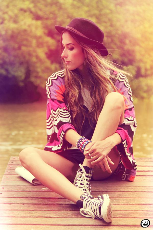 FashionCoolture 04.01.2013 look du jour Juliana Silveira cardigan verão hat t-shirt Romwe studded spikes Kafé  (7)