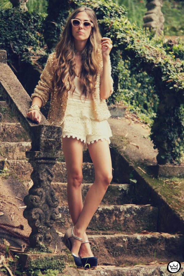FashionCoolture 09.01.2013 look du jour sequins nude lace shorts Asos Spektre sunglasses hair ombre outfit (2)