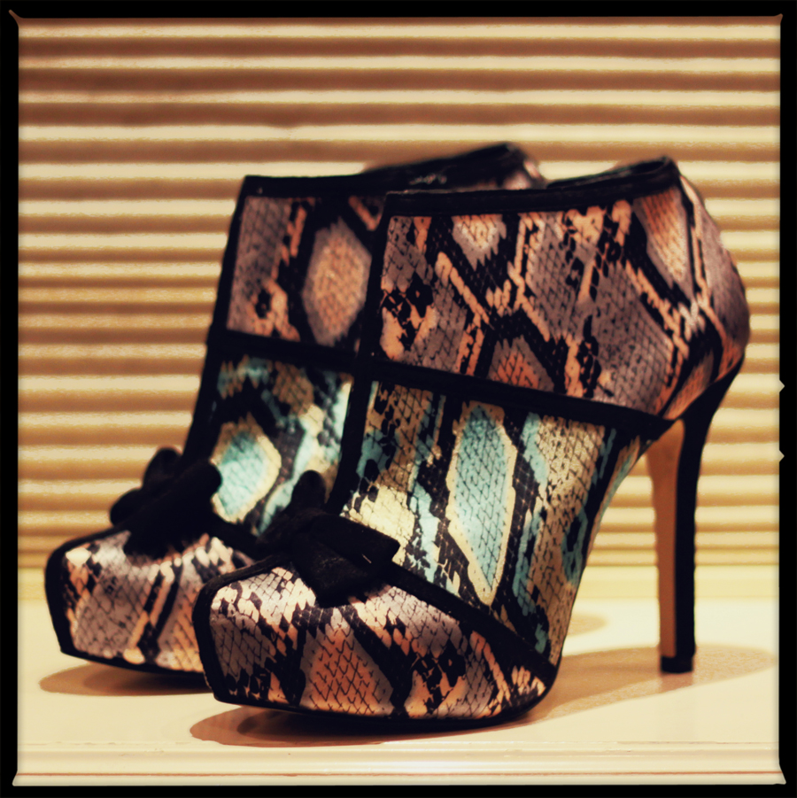 FashionCoolture - shoes Asos snake print bow heels online store
