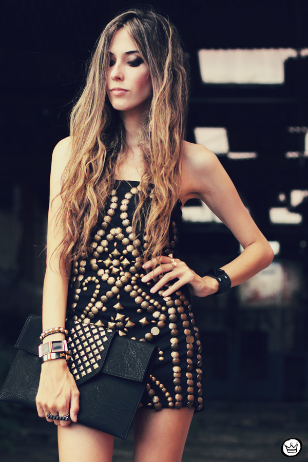 FashionCoolture - 02.02.2013 look du jour beaded riveted dress black Asos blogger outfit (2)