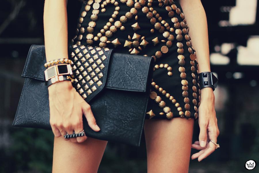 FashionCoolture - 02.02.2013 look du jour beaded riveted dress black Asos blogger outfit (3)