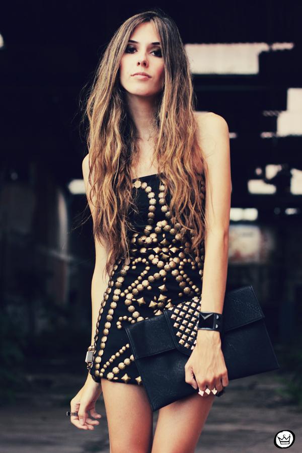 FashionCoolture - 02.02.2013 look du jour beaded riveted dress black Asos blogger outfit (5)