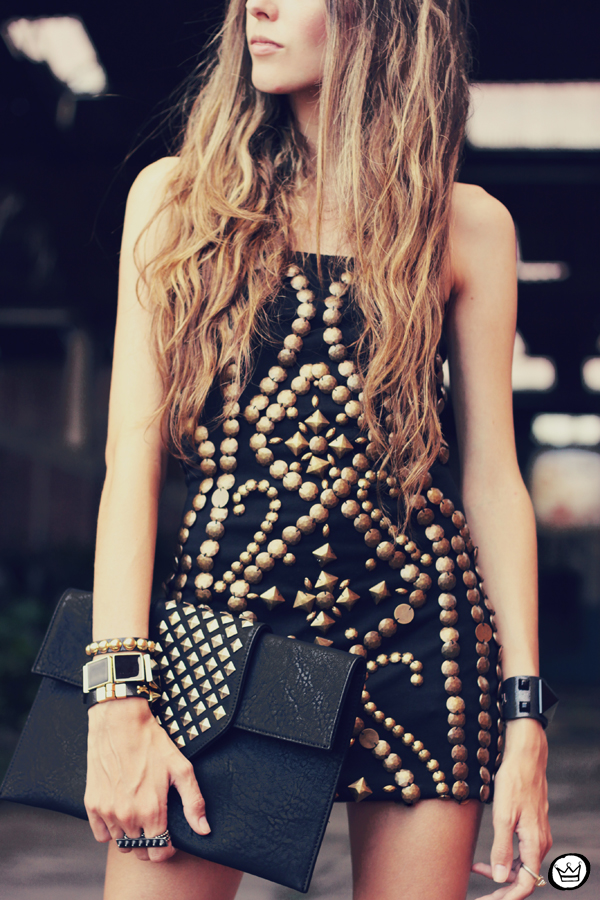 FashionCoolture - 02.02.2013 look du jour beaded riveted dress black Asos blogger outfit (6)