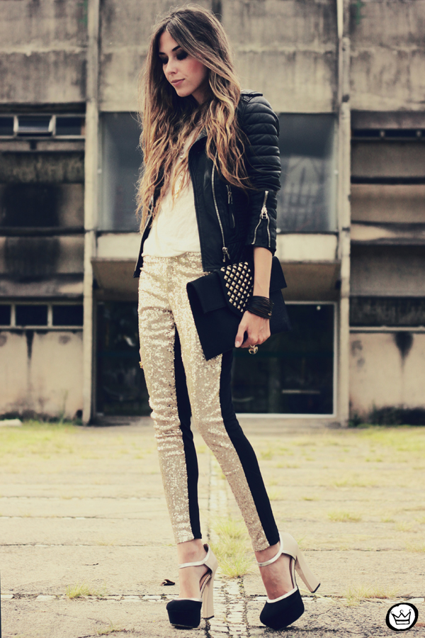 FashionCoolture - 07.02.2013 look du jour sequins pants Romwe clutch Boda Skins leather jacket Kafé Bracelets Asos (1)