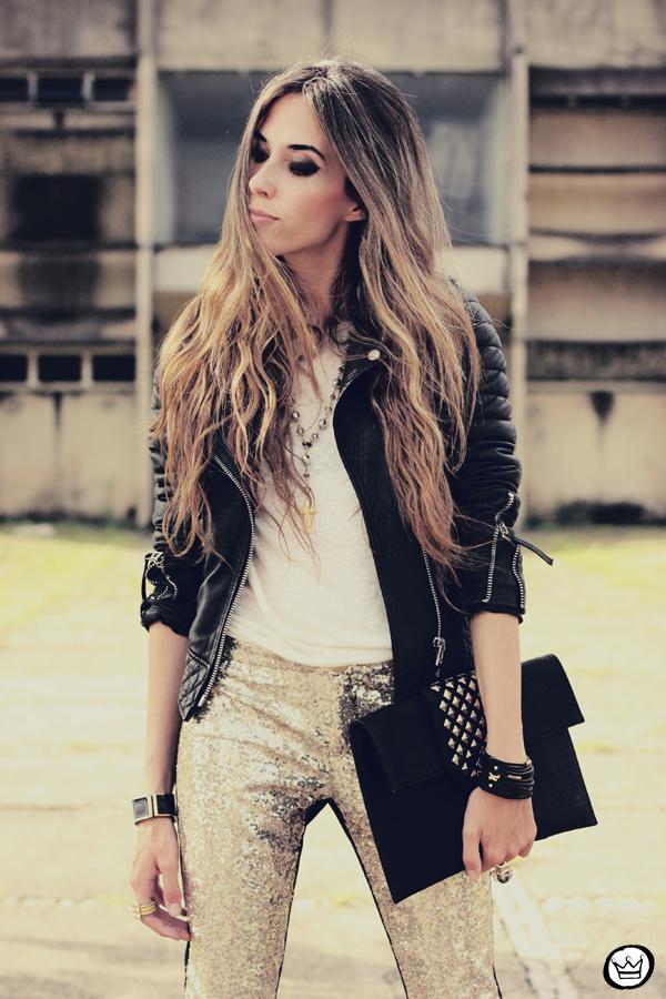 FashionCoolture - 07.02.2013 look du jour sequins pants Romwe clutch Boda Skins leather jacket Kafé Bracelets Asos (2)