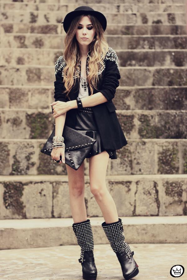 FashionCoolture - 10.02.2013 look du jour Choies blazer beaded hat studded outfit (5)