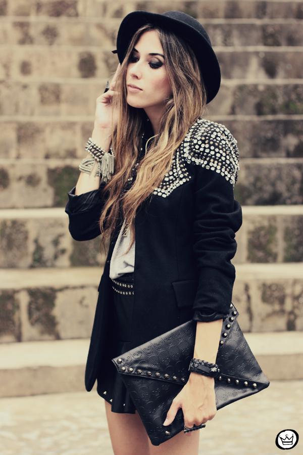 FashionCoolture - 10.02.2013 look du jour Choies blazer beaded hat studded outfit (6)