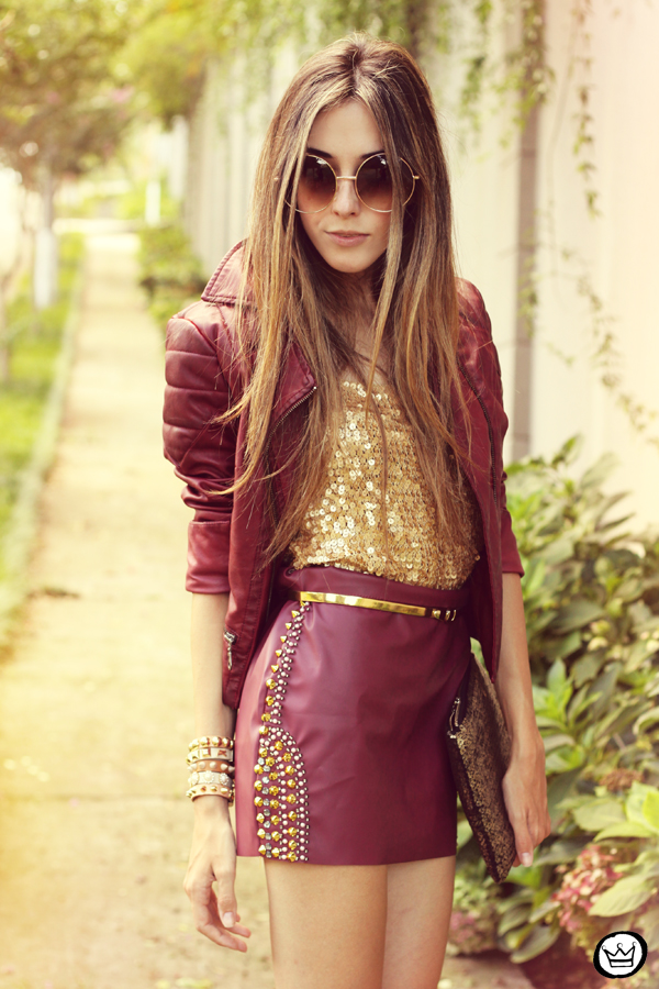 FashionCoolture - 14.02.2013 look du jour burgundy Asos jacket Morena Raiz spikes Kafé bracelets (2)