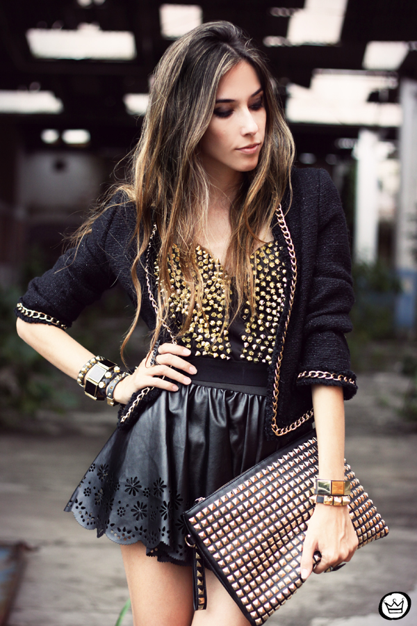 FashionCoolture - 02.03.2013 look du jour Romwe studded cropped top leather skirt (6)