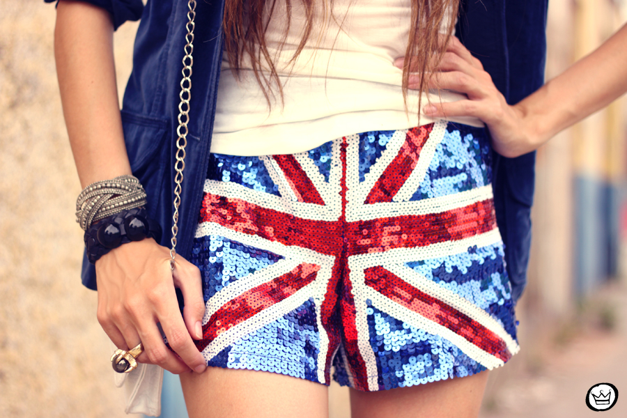 FashionCoolture - 05.03.2013 look du jour union jack uk flag sequins shorts velvet blazer hat creepers (3)