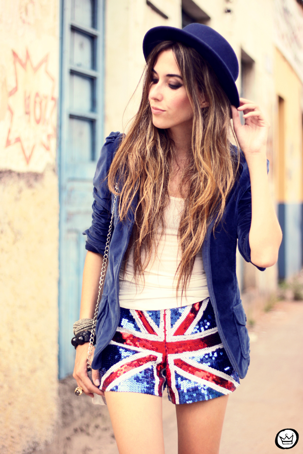 FashionCoolture - 05.03.2013 look du jour union jack uk flag sequins shorts velvet blazer hat creepers (5)