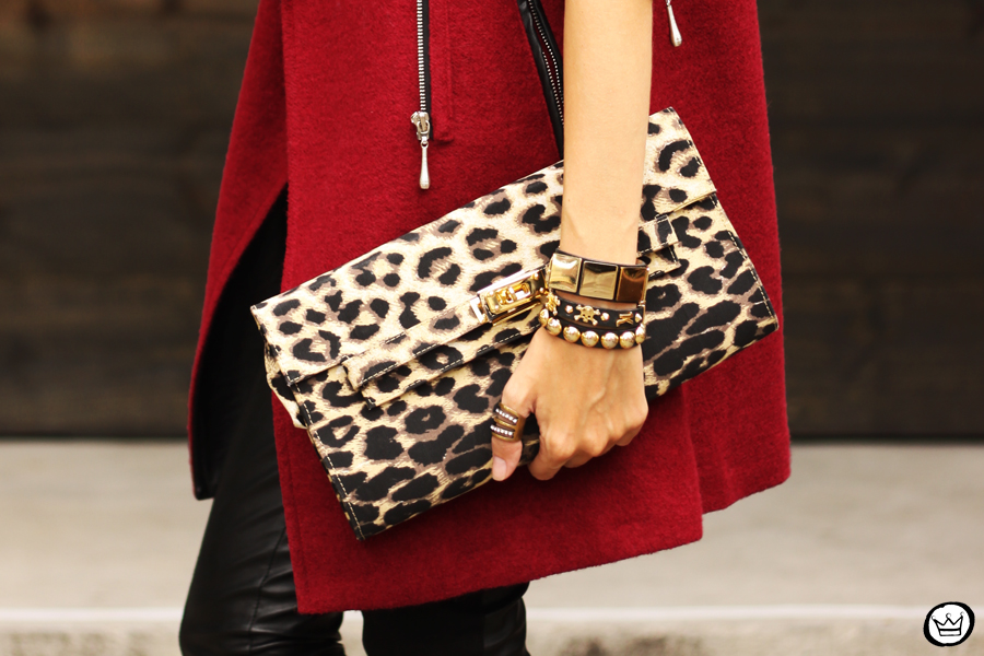 FashionCoolture - 06.03.2013 look du jour Choies burgundy coat leather pants leopard t-shirt rock (6)
