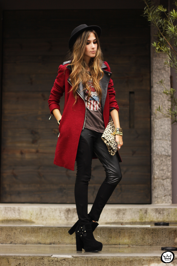 FashionCoolture - 06.03.2013 look du jour Choies burgundy coat leather pants leopard t-shirt rock (8)