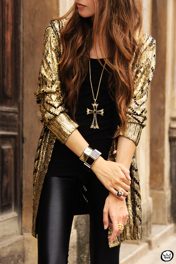 FashionCoolture - 11.03.2013 look dy jour leeging Labellamafia inverno 2013 black gold cardigan Romwe (2)