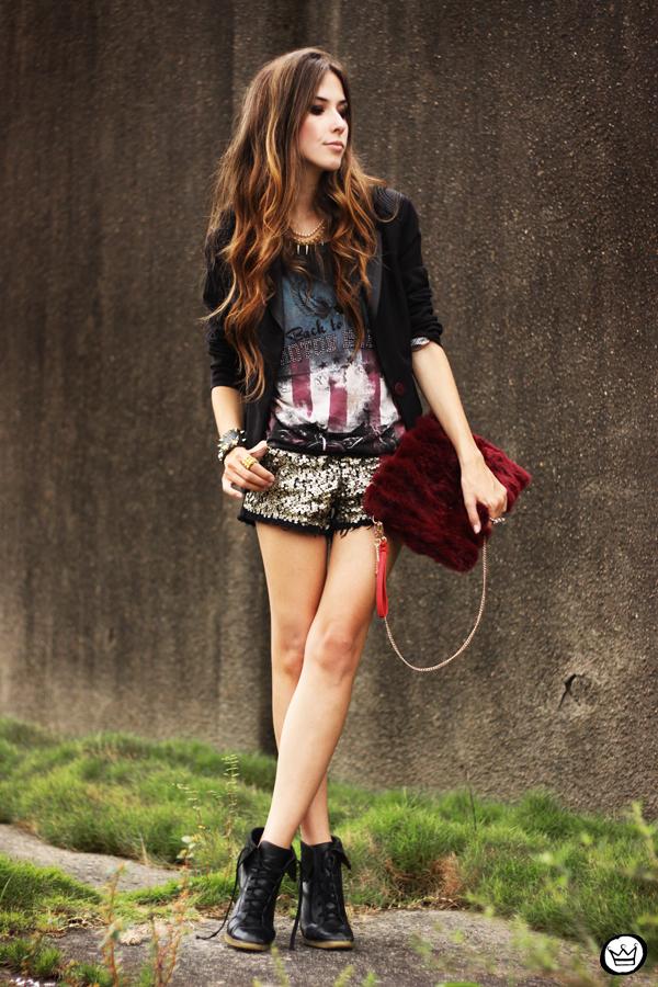 FashionCoolture 13.03.2013 look du jour sequins shorts rocker t-shirt Puloma blazer (1)