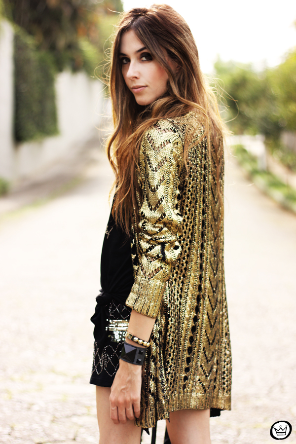 FashionCoolture - 02.04.2013 look du jour Q2 golden romwe cardigan studded (8)