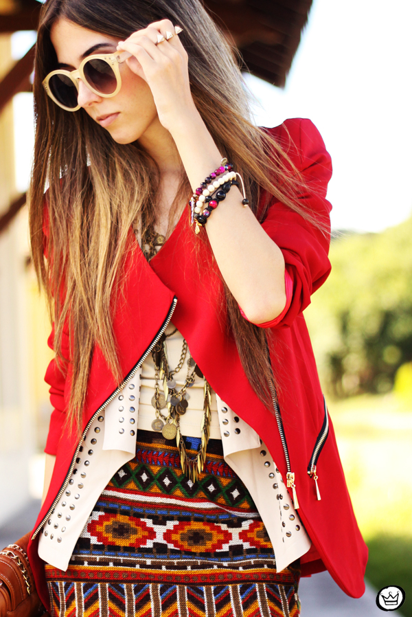FashionCoolture - 06.04.2013 look du jour Chicwish ethnic blazer red Kafé outfit fashion blogger (6)