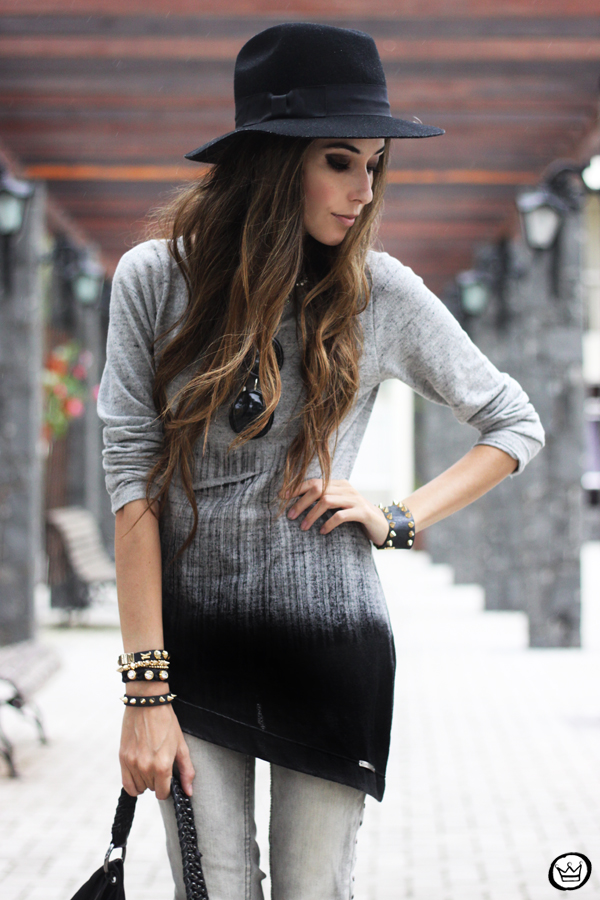 FashionCoolture - 10.04.2013 look du jour gradient grey black jeans hat fringe (2)