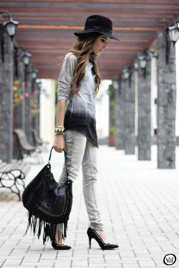 FashionCoolture - 10.04.2013 look du jour gradient grey black jeans hat fringe (4)