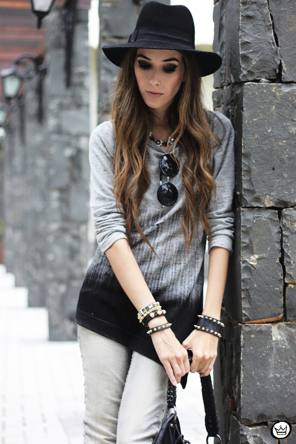 FashionCoolture - 10.04.2013 look du jour gradient grey black jeans hat fringe (5)