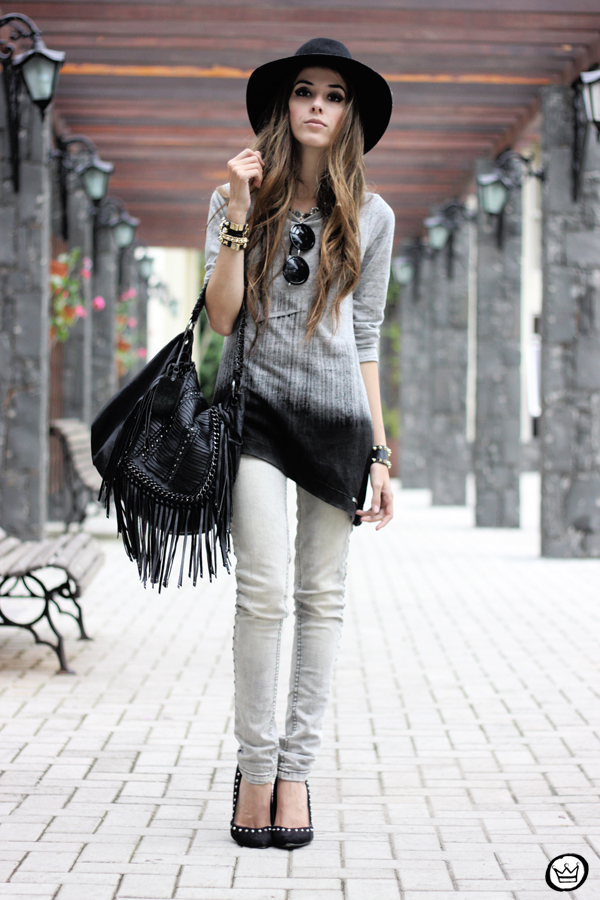FashionCoolture - 10.04.2013 look du jour gradient grey black jeans hat fringe (6)