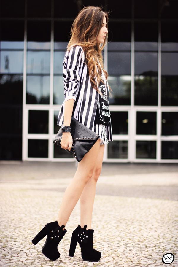 Look du jour - 01.04.2013 look du jour stripes listras preto e branco shorts Renner blazer Charry t-shirt (4)