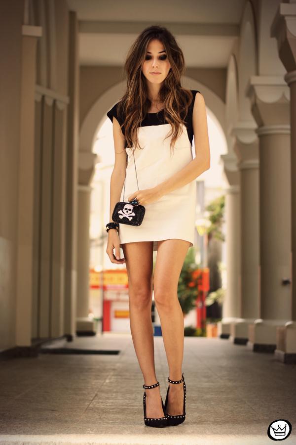 FashionCoolture - 10.05.2013 look du jour black&white Santafina clutch  (1)