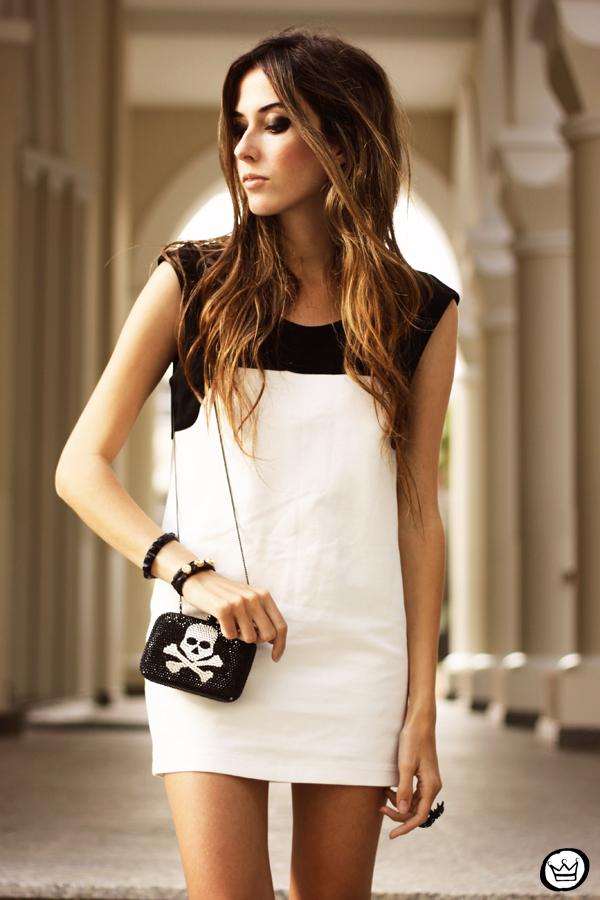 FashionCoolture - 10.05.2013 look du jour black&white Santafina clutch  (2)