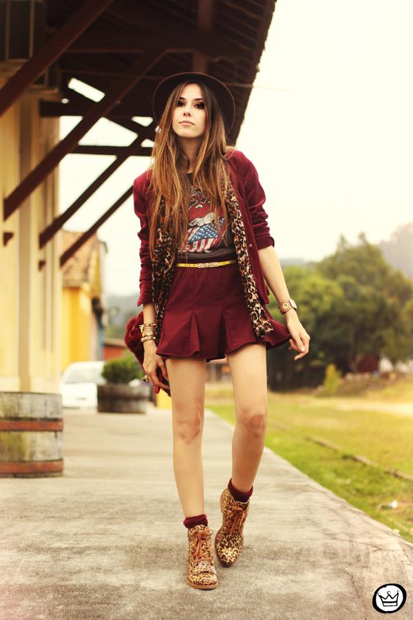FashionCoolture - 16.05.2013 look du jour Kodifik Kafé burgundy chapéu blazer veludo (1)