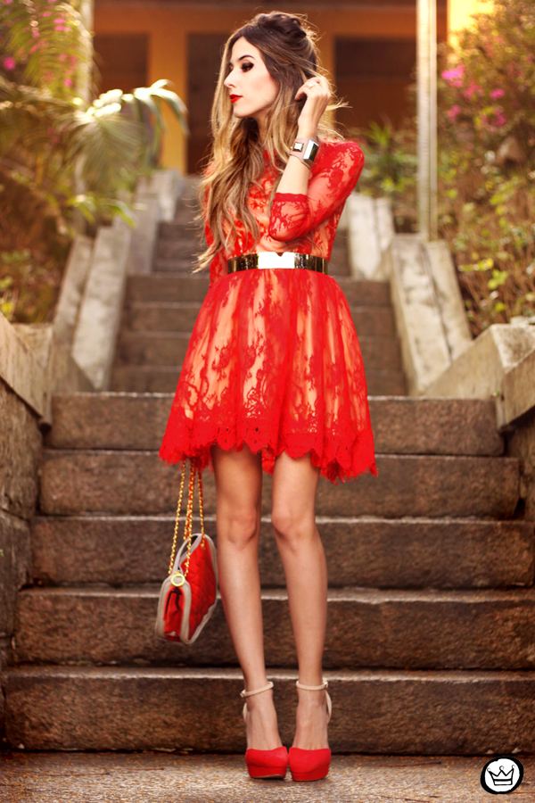 FashionCoolture - 17.07.2013 look du jour red lace dress (1)