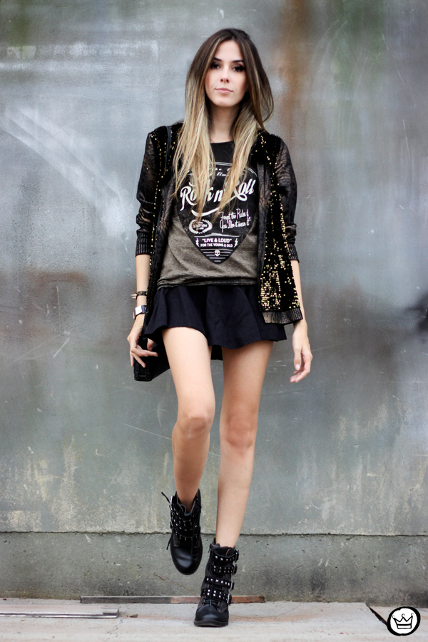 FashionCoolture - 06.05.2014 look du jour Dafiti black studded rocker (1)