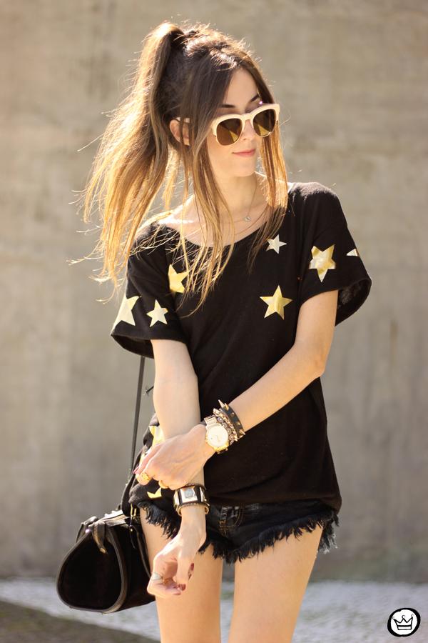 FashionCoolture - 21.03.2015 look du jour Wildfox mirrored golden sunglasses black stars (5)
