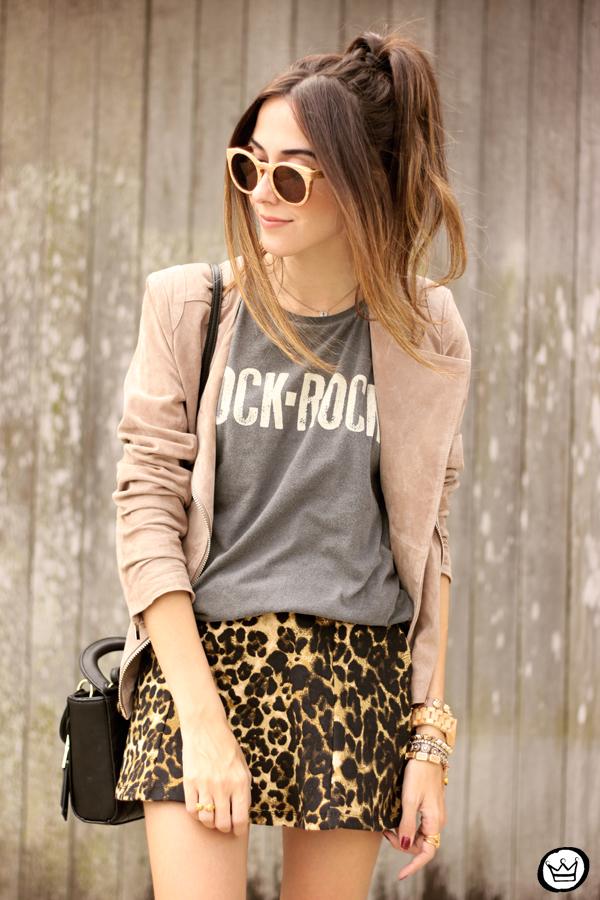 FashionCoolture - look du jour Dafiti leopard skirt leather jacket Santa Lolla boots (2)