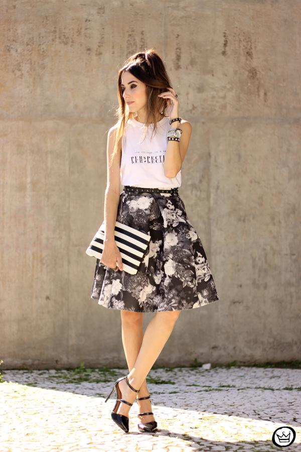 FashionCoolture - 04.04.2015 look du jour midi skirt floral blackandwhite (1)