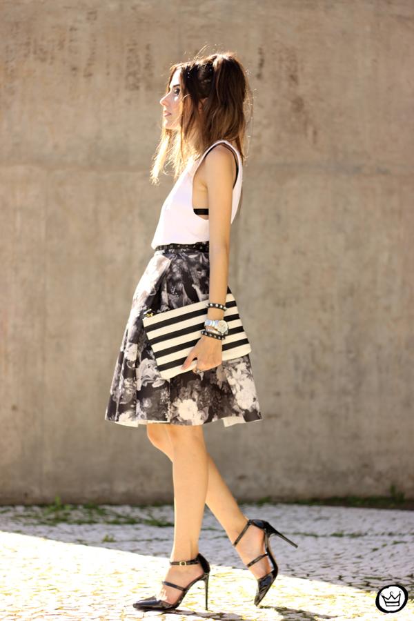 FashionCoolture - 04.04.2015 look du jour midi skirt floral blackandwhite (4)