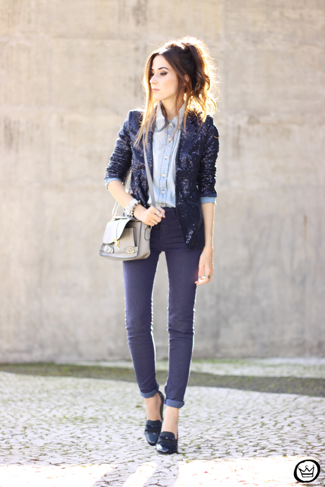 FashionCoolture - 21.05.2015 look du jour Lunender denim pants sequined blazer boyish outfit (1)