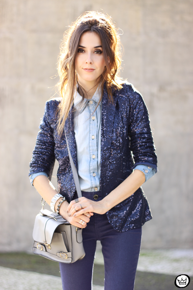 FashionCoolture - 21.05.2015 look du jour Lunender denim pants sequined blazer boyish outfit (2)
