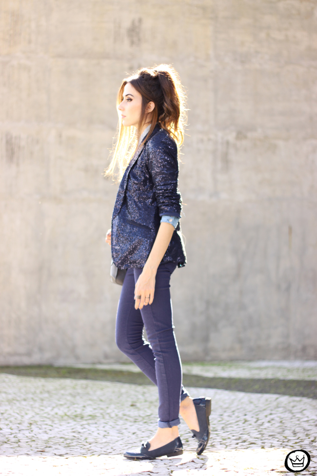 FashionCoolture - 21.05.2015 look du jour Lunender denim pants sequined blazer boyish outfit (3)