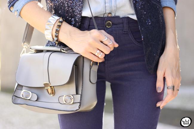 FashionCoolture - 21.05.2015 look du jour Lunender denim pants sequined blazer boyish outfit (4)